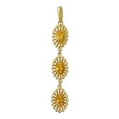 Кулон Колибри с цитринами, желтое золото