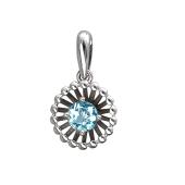 Кулон Колибри с круглым топазом, серебро