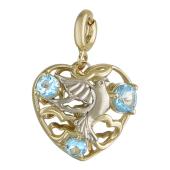 Кулон Свободное Сердце с голубкой и топазами (аметистами или гранатами), желтое и белое золото