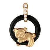 Кулон Мишка лежит на круге, агат, фианиты, красное золото