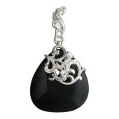 Кулон с черным агатом в форме семечки, узорный держатель с фианитом, белое золото, 585 пробы