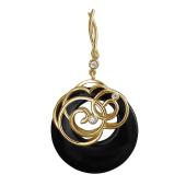 Кулон с кольцом из Агата и узорами с фианитами, желтое золото 585 пробы