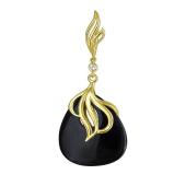 Кулон Капля с черным агатом и фианитом из желтого золота