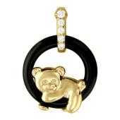 Кулон Мишка на круге из агата с фианитами, желтое золото
