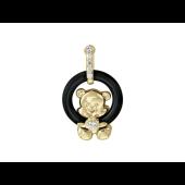 Кулон Мишка на круге с агатом и фианитами, желтое золото