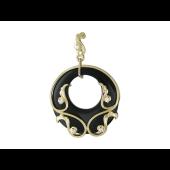 Кулон с кольцом из Агата и узорами с фианитами, желтое золото