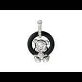 Кулон Мишка на круге из агата, серебро