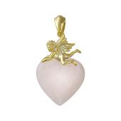 Подвеска Сердце с купидоном и розовым кварцем, серебро с позолотой