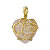 Кулон Сердце с розовым кварцем и фианитами, серебро с позолотой
