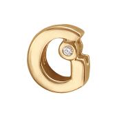 Кулон Викс буква G, латинская Ж с бриллиантом, красное золото