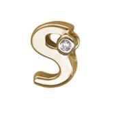 Кулон Викс буква латинская S с бриллиантом, красное золото