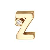 Кулон Викс буква Z, латинская Зет с бриллиантом, красное золото