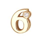 Кулон Викс цыфра 6 шесть с бриллиантом, красное золото