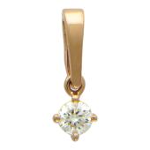 Кулон с бриллиантом, красное золото