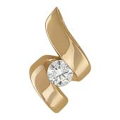 Кулон Волна с бриллиантом, красное золото