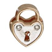 Кулон Викс замочек-сердце с бриллиантами, красное золото