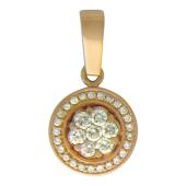 Кулон круглый с бриллиантами, красное золото