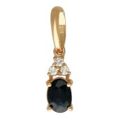 Кулон с бриллиантами и рубином (или сапфиром, или изумрудом), красное золото