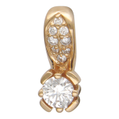 Кулон классический с бриллиантами, красное золото