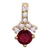 Кулон с бриллиантами и рубином, красное золото