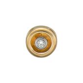 Кулон круглый с бриллиантом, красное золото