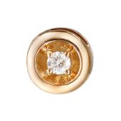 Кулон с бриллиантами круглый, красное золото