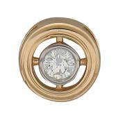 Кулон с бриллиантом круглый, красное золото