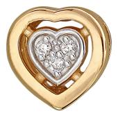Кулон Сердце с бриллиантами, красное золото