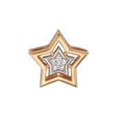 Кулон Звезда с бриллиантами, красное золото