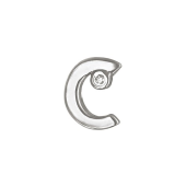 Кулон Викс буква С, латинская C с бриллиантом, белое золото