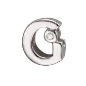 Кулон Викс буква G, латинская Г с бриллиантом, белое золото