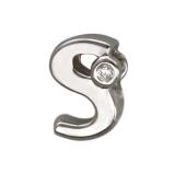 Кулон Викс буква латинская S с бриллиантом, белое золото