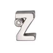 Кулон Викс буква Z латинская Зе с бриллиантом, белое золото