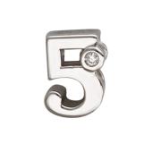 Кулон Викс цифра пять 5 с бриллиантом, белое золото