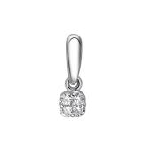 Кулон квадратный с бриллиантами, белое золото 585 проба