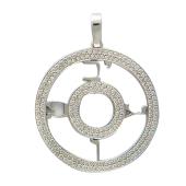 Кулон круглый усыпан бриллиантами, белое золото
