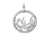 Кулон Бамбук круглый с листьями и бриллиантами, белое золото 585 проба