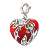 Кулон Горячее Сердце с бриллиантами и красной эмалью, белое золото