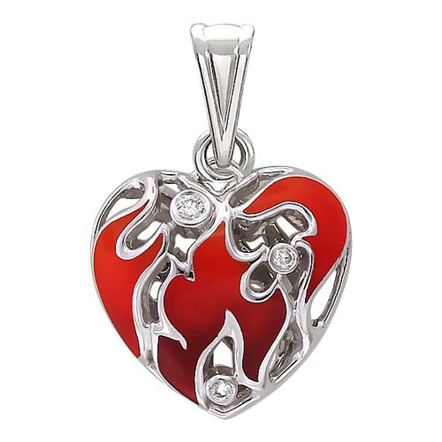 Кулон Горячее Сердце с бриллиантами и красной эмалью, языки пламени, белое золото