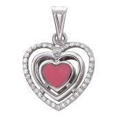 """Кулон """"Сердце"""", розовое сердечко внутри, бриллианты по периметру, белое золото"""
