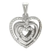 "Кулон ""Сердце"", бриллиантовое сердце внутри и снаружи, белое золото"