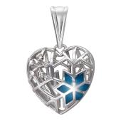 Кулон Холодное Сердце со снежинками, с бриллиантами и голубой эмалью, белое золото