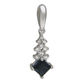 Кулон Лесенка с бриллиантами и сапфиром, белое золото