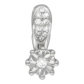Кулон Роза с бриллиантом, белое золото