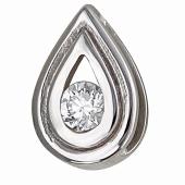 Кулон Капля с бриллиантом, белое золото