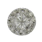 Кулон круглый бриллиантовый, белое золото