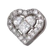 Кулон Сердце с бриллиантами, белое золото