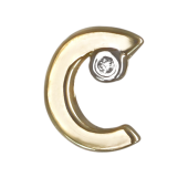 Кулон Викс буква С, латинская C с бриллиантом, желтое золото