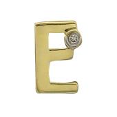 Кулон Викс буква Е с бриллиантом, желтое золото