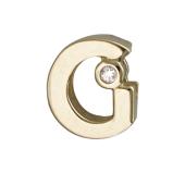 Кулон Викс буква G, латинская Джи с бриллиантом, желтое золото